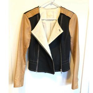 Tracy Reese Leather Jacket Asymmetric Double Zip